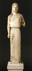 Title/ Designation: Peplos Kore from the Acropolis Artist/ Culture: Archaic Greek Date of Creation: c. 530 B.C.E.  Materials: Marble, painted details