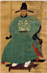 Title/ Designation: Portrait of Sin Sukju (1417-1475) Artist/ Culture: Imperial Bureau of Painting Date of Creation: c. 15th century CE  Materials: Hanging scroll (ink and color on silk)