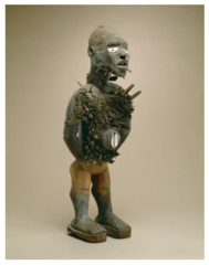 Title/ Designation: Power figure (Nkisi n'kondi) Artist/ Culture: Kongo peoples (Democratic Republic of the Congo)  Date of Creation: c. late 19th century CE Materials: wood and metal