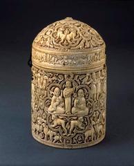 Title/ Designation: Pyxis of al-Mughira Artist/ Culture: Umayyad  Date of Creation: c. 968 CE Materials: Ivory