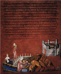 Title/ Designation: Rebecca and Eliezer at the Well and Jacob Wrestling the Angel from the Vienna Genesis Artist/ Culture: Early Byzantine Europe Date of Creation: Early 6th century Materials: Illuminated manuscript, tempera, gold, and silver on purple vellum