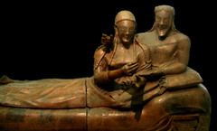 Title/ Designation: Sarcophagus of the Spouses Artist/ Culture: Etruscan Date of Creation: c. 520 B.C.E. Materials: Terra cotta
