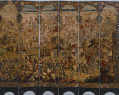 Title/ Designation: Screen with the Siege of Belgrade and hunting scene  Artist/ Culture: Circle of the Gonzalez Family  Date of Creation: c. 1697-1701 CE  Materials: Tempera and resin on wood, shell inlay
