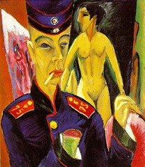 Title/ Designation: Self-Portrait as a Soldier  Artist/ Culture: Ernst Ludwig Kirchner  Date of Creation: 1915 CE Materials: Oil on canvas
