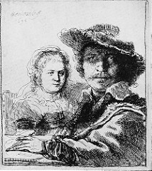 Title/ Designation: Self-Portrait with Saskia  Artist/ Culture: Rembrant van Rijn  Date of Creation: 1636 CE Materials: etching