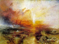 Title/ Designation: Slave Ship (slavers Throwing Overboard the Dead and Dying, Typhoon Coming On)  Artist/ Culture: Joseph Mallord William Turner Date of Creation: 1840 CE Materials: Oil on canvas