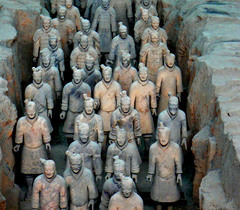 Title/ Designation: Terra cotta warriors from mausoleum of the first Qin emperor of China Artist/ Culture: Qin Dynasty Date of Creation: c. 221-209 BCE Materials: painted terra cotta