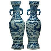 Title/ Designation: The David Vases Artist/ Culture: Yuan Dynasty, China  Date of Creation: 1351 CE Materials: White porcelain with cobalt-blue underglaze