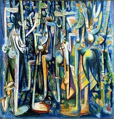 Title/ Designation: The Jungle Artist/ Culture: Wilfredo Lam Date of Creation: 1943 CE  Materials: Gouache on paper mounted on canvas
