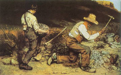 Title/ Designation: The Stone Breakers Artist/ Culture: Gustave Courbet Date of Creation: 1849 CE (destroyed 1945) Materials: Oil on canvas