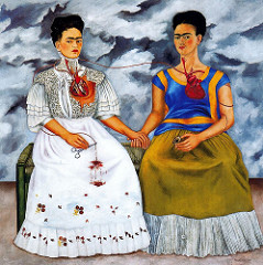 Title/ Designation: The Two Fridas  Artist/ Culture: Frida Kahlo  Date of Creation: 1939 CE Materials: oil on canvas