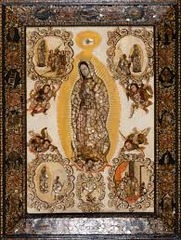 Title/ Designation: The Virgin of Guadalupe (Virgen de Guadalupe)  Artist/ Culture: Miguel González Date of Creation: c. 1698 CE, based on original Virgin of Guadalupe, Basilica of Guadaluoe, Mexico City, 16th Century CE Materials: oil on canvas on wood, inlaid mother-of-pearl