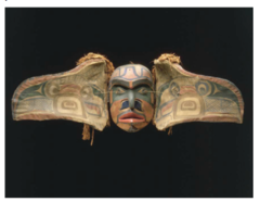 Title/ Designation: Transformation Mask Artist/ Culture: Kwakwaka'wakw, Northwest coast of Canada Date of Creation: Late 19th Century CE Materials: wood, paint, and string