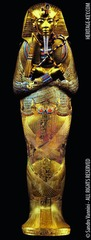 Title/ Designation: Tutankhamun's tomb, innermost coffin Artist/ Culture: New Kingdom, 18th Dynasty. Date of Creation: c. 1323 B.C.E. Materials: Gold with inlay of enamel and semiprecious stones