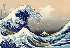 Title/ Designation: Under the Wave of Kanagawa (Kanagawa oki nami ura) also known as the Great Wave, from the series of Thirty-six views of Mount Fuji Artist/ Culture: Katsushika Hokusai Date of Creation: 1830-1833 CE Materials: Polychrome woodblock and prink; ink and color on paper