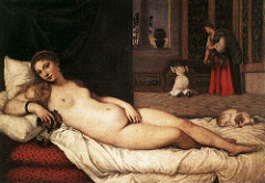 Title/ Designation: Venus of Urbino Artist/ Culture: Titian Date of Creation: c. 1538 CE Materials: oil on canvas