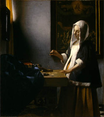 Title/ Designation: Woman Holding a Balance Artist/ Culture: Johannes Vermeer Date of Creation: c. 1664 CE Materials: Oil on canvas