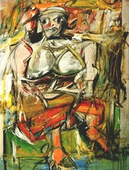 Title/ Designation: Woman, I  Artist/ Culture: Willem de Kooning  Date of Creation: 1950-1952 CE Materials: Oil on canvas