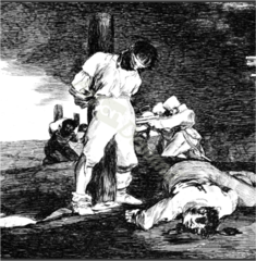 Title/ Designation: Y no hai remedio (And There's Nothing to Be Done) from Los Desastres de la Guerra (The Disasters of War, plate 15 Artist/ Culture: Francisco de Goya Date of Creation: 1810-1823 CE (published 1863) Materials etching, drypoint, burin, and burnishing