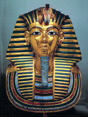 Tutankhamun's Tomb, intermost coffin. New Kingdom, 18th Dynasty. c. 1,323 B.C.E. Gold with inlay of enamel and semiprecious stones.  The kings gold inner coffin, shown above, displays a quality of workmanship and an attention to detail which is unsurpassed. It is a stunning example of the Ancient goldsmith's art