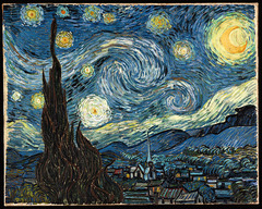 Van Gogh Starry Night 1889 Post Impressionism -very different from Seurat, who wasn't studying the expressive nature of color and line, but the scientific nature of color  • Does not give objective appearance of the sky, but communicates his anxiety and feeling about the electrifying vastness of the universe, filled with whirling and exploding stars and galaxes, the earth and humanity huddling belief this uncontrollable nature • Any visual objectis translated into his unique vision  • Turbulent brush stroke, intense blues
