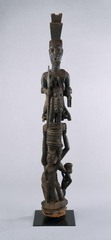 Veranda Post: Female Caryatid and Equestrian Figure, Yoruba