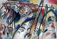 Wassily Kandinsky, Improvisation 28, 1912, Blue Rider Hroup  • Bleu rider group, mutual interest in the color blue and horses • Blue resonates deep emotions • Kandinsky first to explore pure abstraction • Eliminated representational elemnts with his interest in theosology (a religious and philosophical belief system incorporating a wide range of tenets  • Scientist's exploration of atomic structure, convinced Kandinsky that material obejcts had no real substance • Studying color and line specifically, arbitrary relationship, more emotional