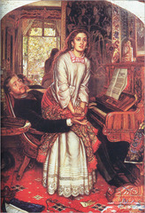 WH Hunt The Awakening Conscience, 1852, pre-raphaelite -Wanted to go before raphael, academic nature pf paiting, liked early northern renaissance, symbolic interiors -liek Jan Van eyck -also reation against realism, did not want to celebrate materialism and indutrialization  • Depicts a young woman rising from her position in the lap of a man gaazing transfixed out of the window of a room • Focal point of the position is the absence of a wedding ring • The cat beneath the table, hidden symbols as in northern renaissance art • Definitely a mistress, use of mirror, Jan Van Eyk  • The opening out into the spring garden contrasts the entrapment within the room • What attracts her is both outside the room and her relationship  • The mirror image represents the woman's lost innocence, but redemption, indicated by the ray of light  • Full of rich symbolic evidence • The car toying with the broken winged bird under the table symbolizes the woman's plight,  • The tangled yarn, represents her entrapment