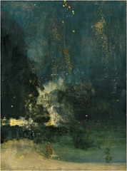 Whistler, Nocturne in Black and Gold: The Falling Rocket, 1875, Impressionism, Aesthetic Movement • To underscore his artistic intentions, he began calling his paintings arrangements or nocturnes  • This work is particularly daring with gold fleck splatters that represent the exploded firework punctuating in the night sky  • More interested in conveying the atmospheric effects than in providing details of the scene, wanted