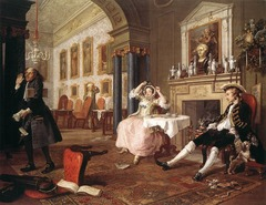 William Hogarth Marriage a la Mode 1745 Scene 2 1745, 18th Century Enlightenment Art -reaction against Rococo/Watteau, JH Fragonard  Hogarth won fame for his paintings and prints satirizing 18th century English life with comic zest  He is commenting on the marital immoralities of the moneyed class His favorite device was making a series of narrative paintings and prints, in sequence like chapters in a book or scenes in a play, following a character or group of characters in their encounters with social evils  This is one of the sequence of 6 paintings The husband and wife are tired after a long night spent in separate pursuits  He thrusts his hands deep into his empty money pockets while his wife sniffs at a woma's lacy cap protruding from his pocket (dog fidelity, the lace represents everything but)  The steward raises his hands full f unpaid bills, in despair of his noble master ad mistress Filled with witty clues about the dubious taste of its occupants There are religious paintings throughout, but one painting is covered by curtain (perhaps erotic)  The popularity of prints during 18th century made this possible