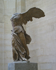Winged Victory of Samothrace Hellenistic Greek. c. 190 B.C.E. Marble The theatrical stance, vigorous movement, and billowing drapery of this Hellenistic sculpture are combined with references to the Classical period-prefiguring the baroque aestheticism of the Pergamene sculptors.