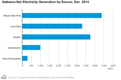 What percentage of our electricity in Alabama is generated using coal?