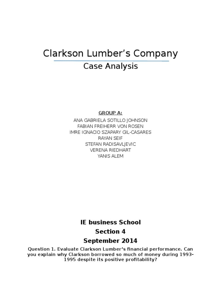 Essays on Clarkson Lumber
