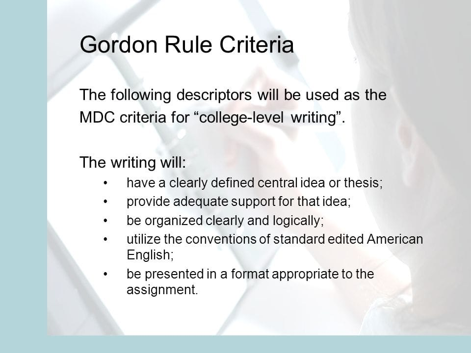 Essays on Gordon Rule